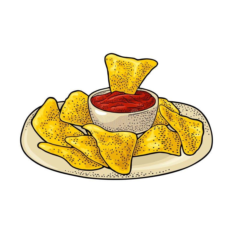 Nachos - mexikansk traditionell mat Inristad illustration för vektor tappning stock illustrationer