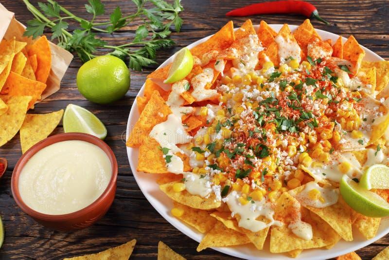 Nachos ou pommes chips de tortilla lloaded savoureux photos libres de droits
