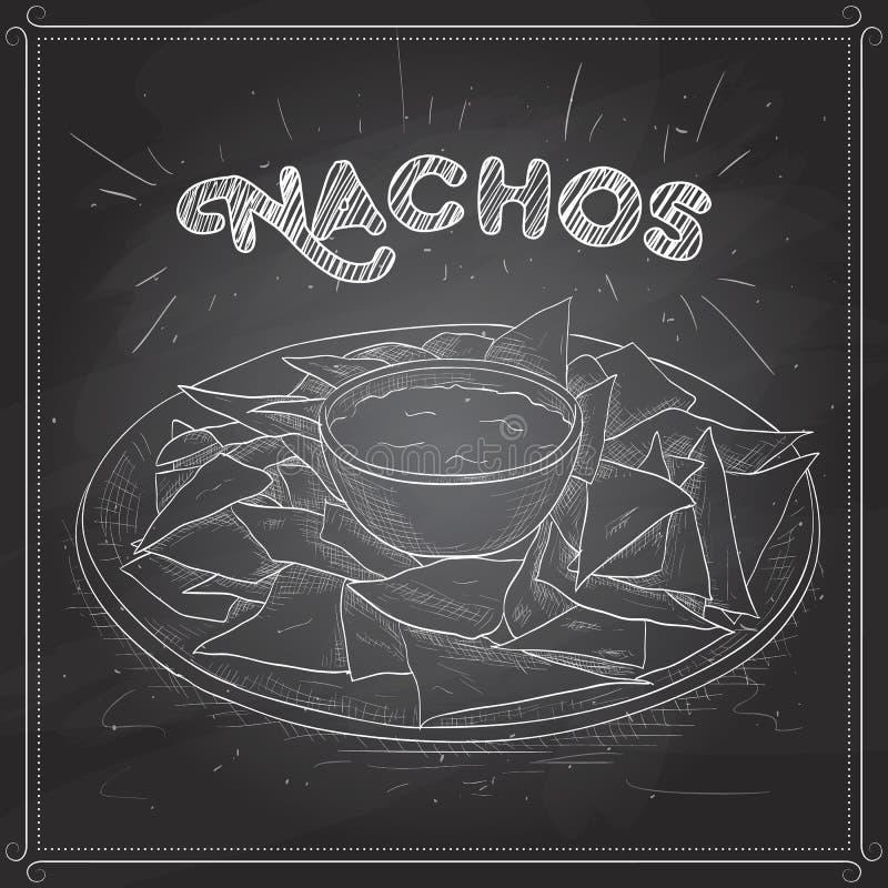 Nachos scetch na czarnej desce ilustracji