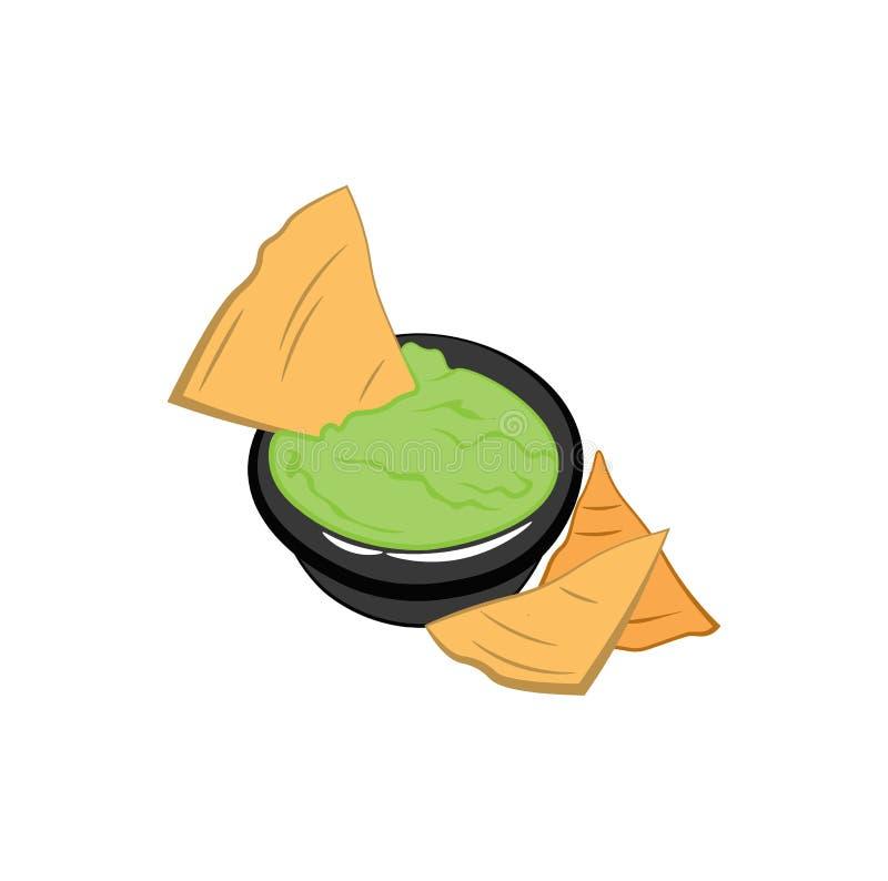 Nachos Tortilla Chips badge. Mexican food. Vector illustration. Nachos Tortilla Chips badge. Mexican food. Vector illustration isolated on white background royalty free illustration