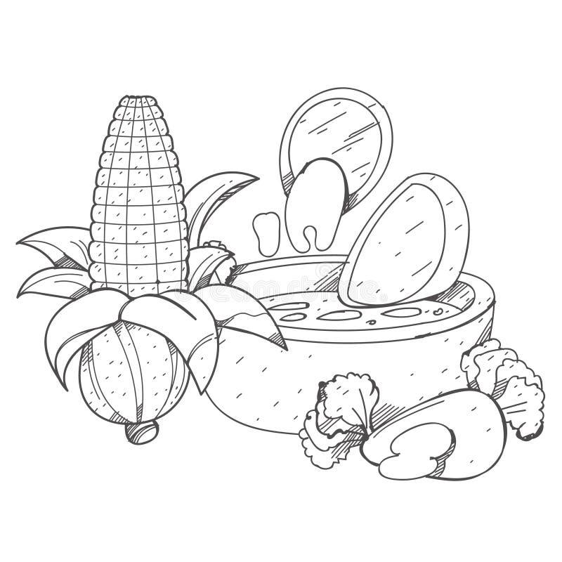 Nachos und Salsalogo Mexikanischer traditioneller Teller Illustrationsfärbung stock abbildung