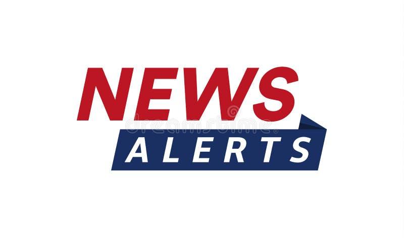 Nachrichten alarmieren einfache Textfahnenschablone, minimalistic Art Logo der letzten Nachrichten, Fernsehgestaltungselement, Be vektor abbildung