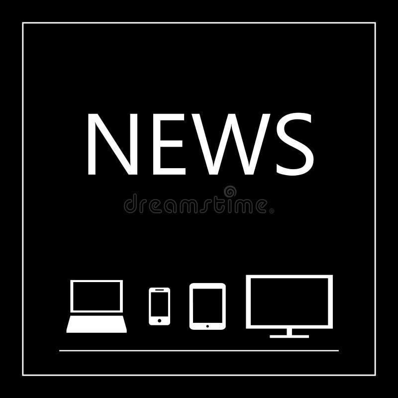 Nachrichten auf allen tragbaren Geräten - Laptop, intelligentes Telefon, Tablette, Fernsehen stock abbildung