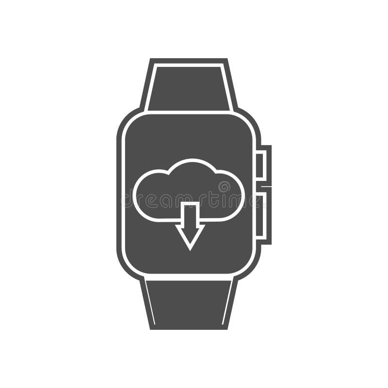 Nachrichten auf intelligenter Uhrikone Element von minimalistic f?r bewegliches Konzept und Netz Appsikone Glyph, flache Ikone f? stock abbildung