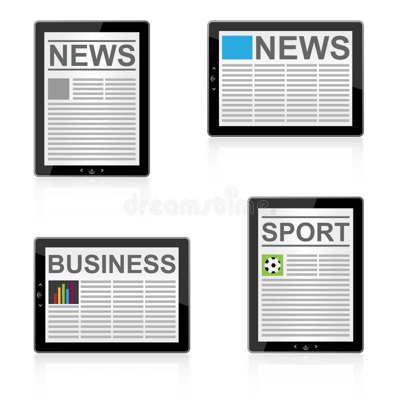 Nachrichten auf Tablette lizenzfreie abbildung