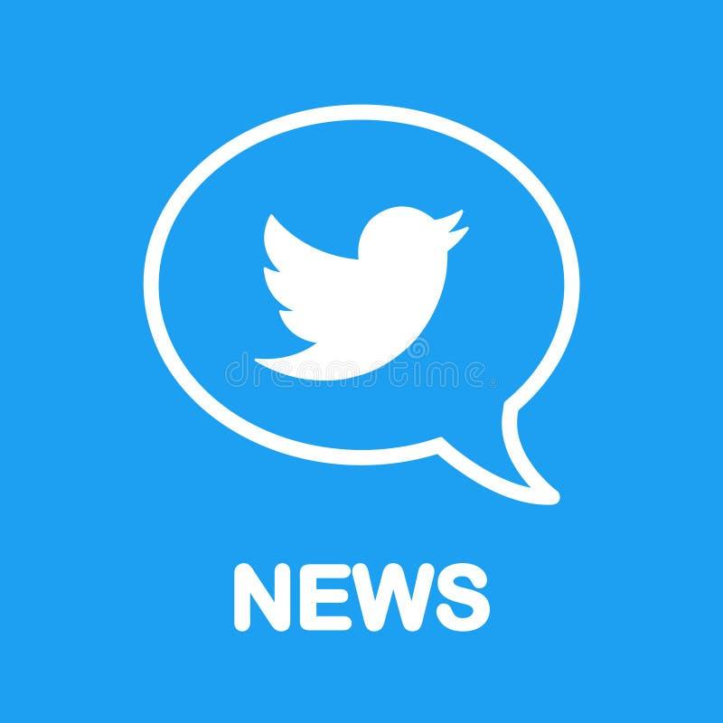 Nachrichten auf Twitter! Vogellogo in der Spracheblase Flaches Design Sozialmedia und Vernetzung lizenzfreie abbildung