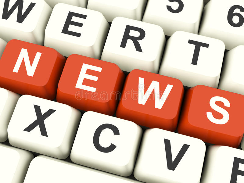 Nachrichten-Computer-Schlüssel, die Medien und Informationen zeigen stockbilder