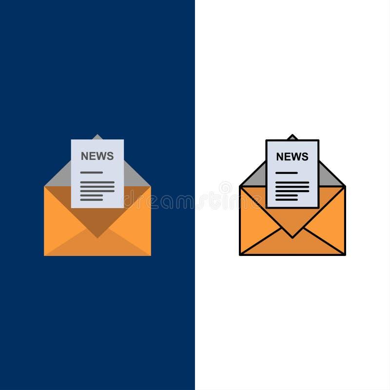 Nachrichten, E-Mail, Geschäft, entsprechend, Buchstabe-Ikonen Ebene und Linie gefüllte Ikone stellten Vektor-blauen Hintergrund e stock abbildung