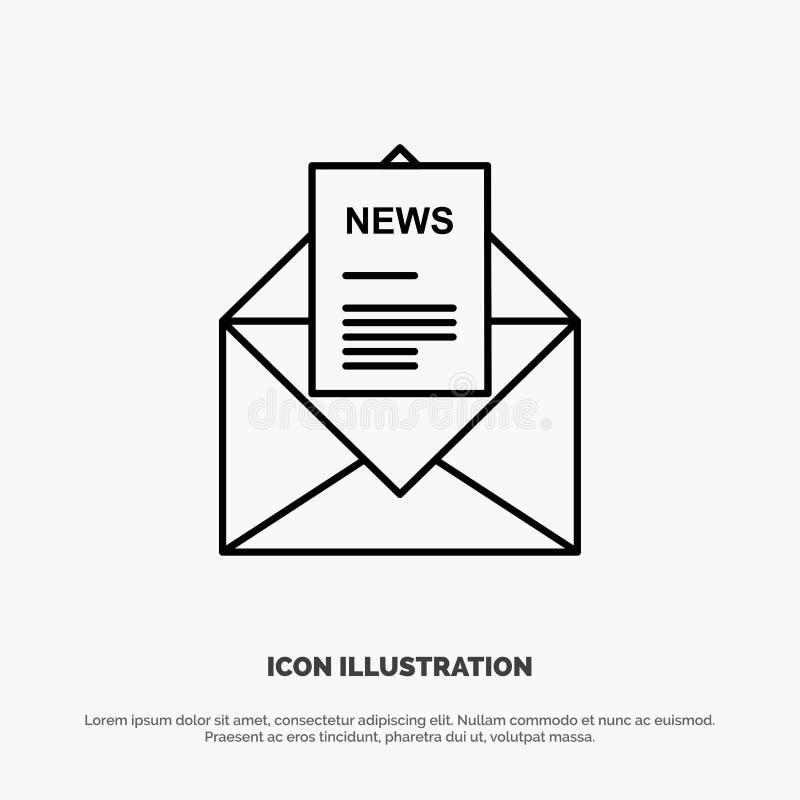 Nachrichten, E-Mail, Geschäft, entsprechend, Buchstabe-Linie Ikonen-Vektor lizenzfreie abbildung