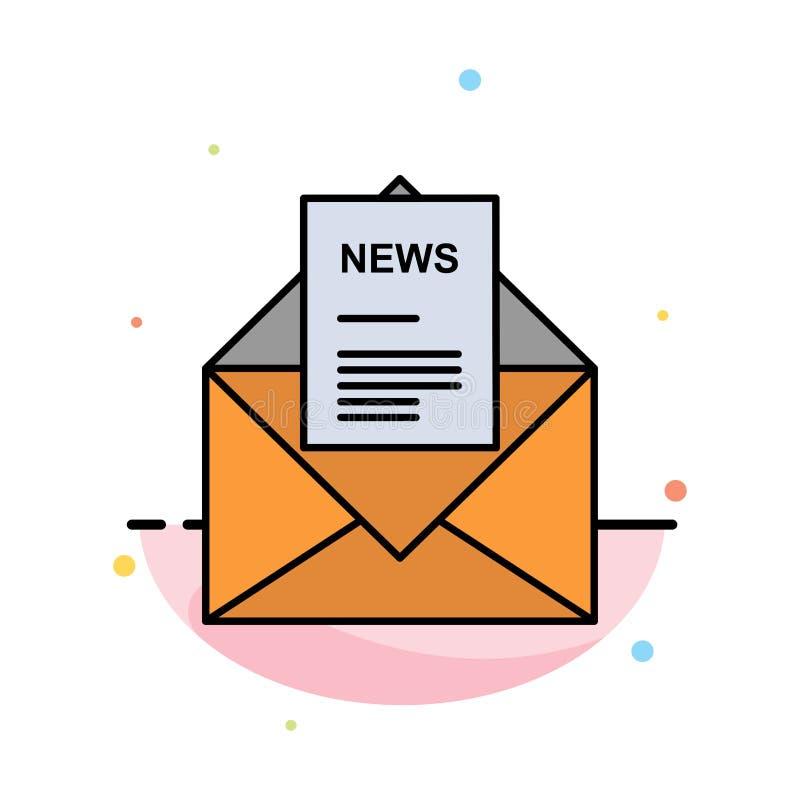 Nachrichten, E-Mail, Geschäft, entsprechend, Buchstabe-Zusammenfassungs-flache Farbikonen-Schablone vektor abbildung
