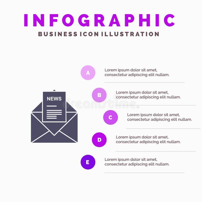 Nachrichten, E-Mail, Geschäft, entsprechend, Schritt-Darstellungs-Hintergrund Buchstabe-fester Ikone Infographics 5 lizenzfreie abbildung