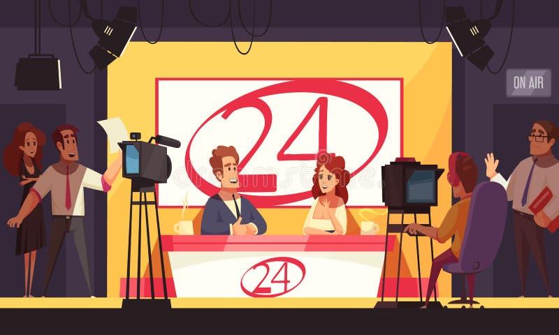 Nachrichten Fernsehkanal-Illustration stock abbildung