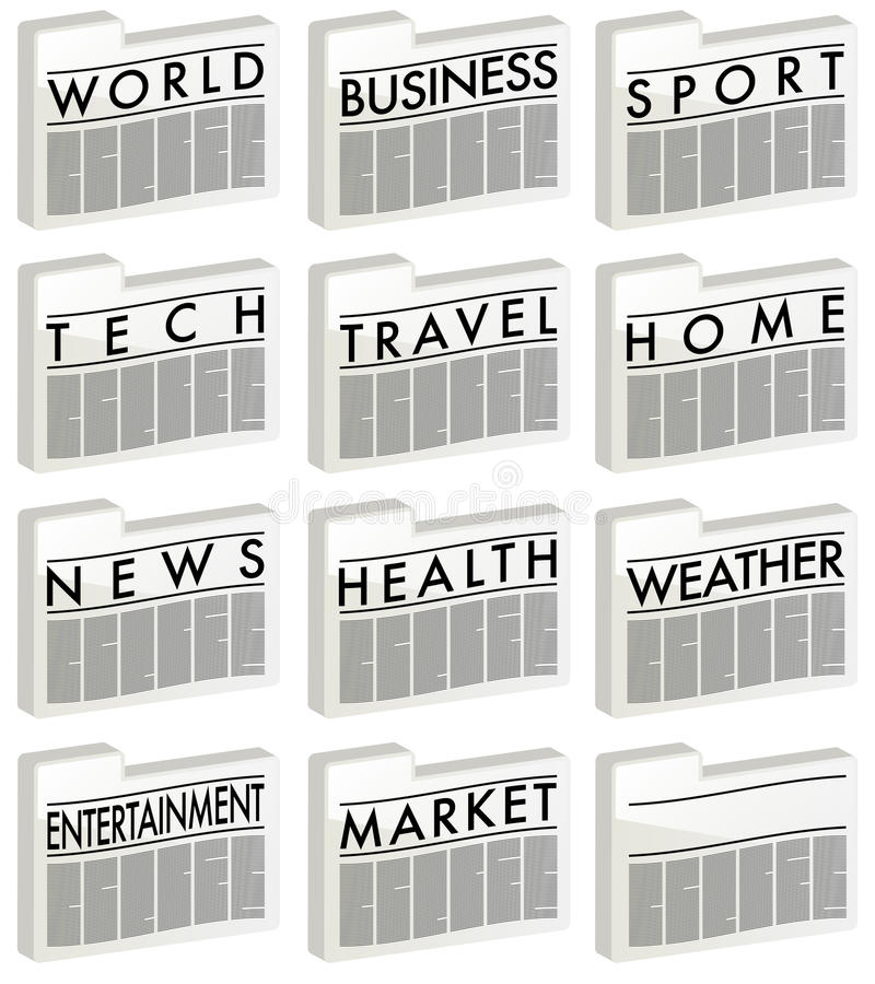 Nachrichten - Ikonen stock abbildung