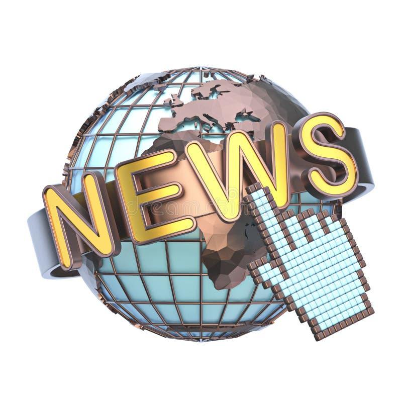 NACHRICHTEN-Konzept mit Erdkugel 3D stock abbildung