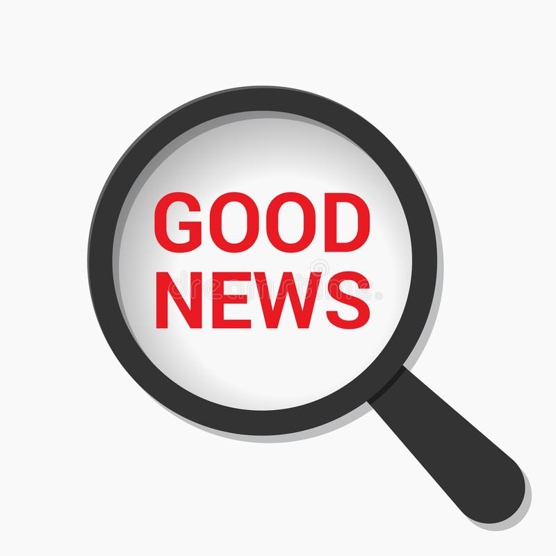 Nachrichten-Konzept: Optisches Vergrößerungsglas mit Wort-guten Nachrichten stock abbildung