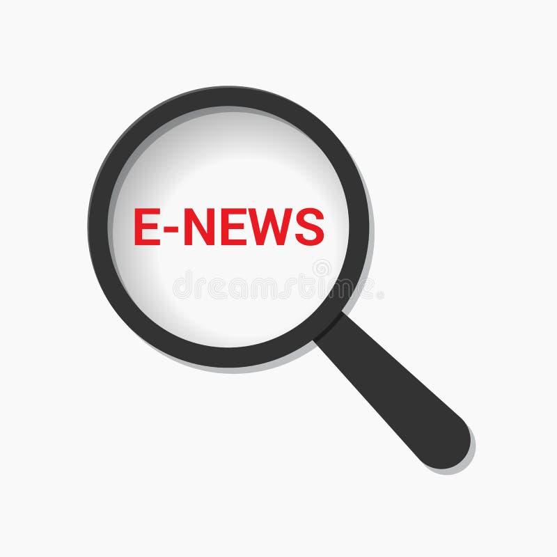 Nachrichten-Konzept: Optisches Vergrößerungsglas mit Wortc$e-nachrichten vektor abbildung