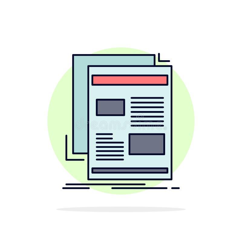 Nachrichten, Newsletter, Zeitung, Medien, flacher Farbikonen-Papiervektor stock abbildung