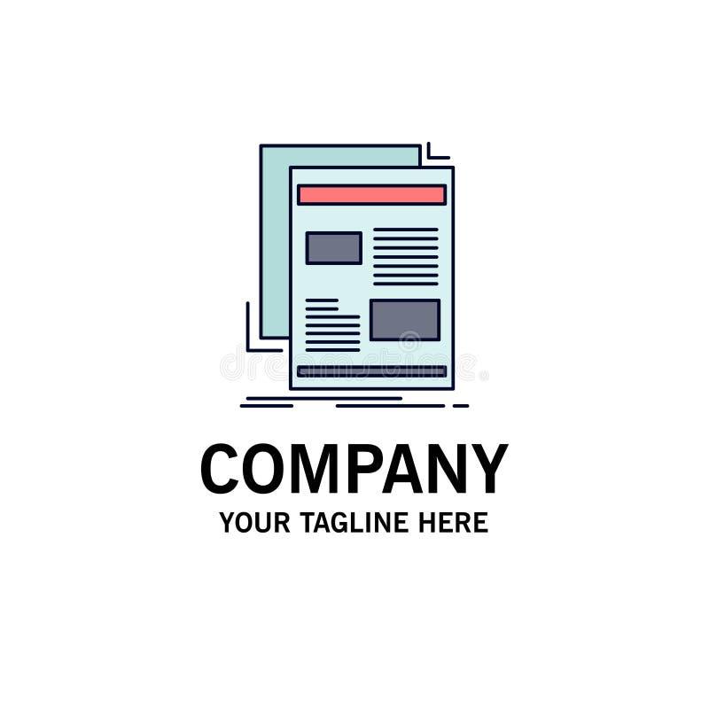 Nachrichten, Newsletter, Zeitung, Medien, flacher Farbikonen-Papiervektor lizenzfreie abbildung