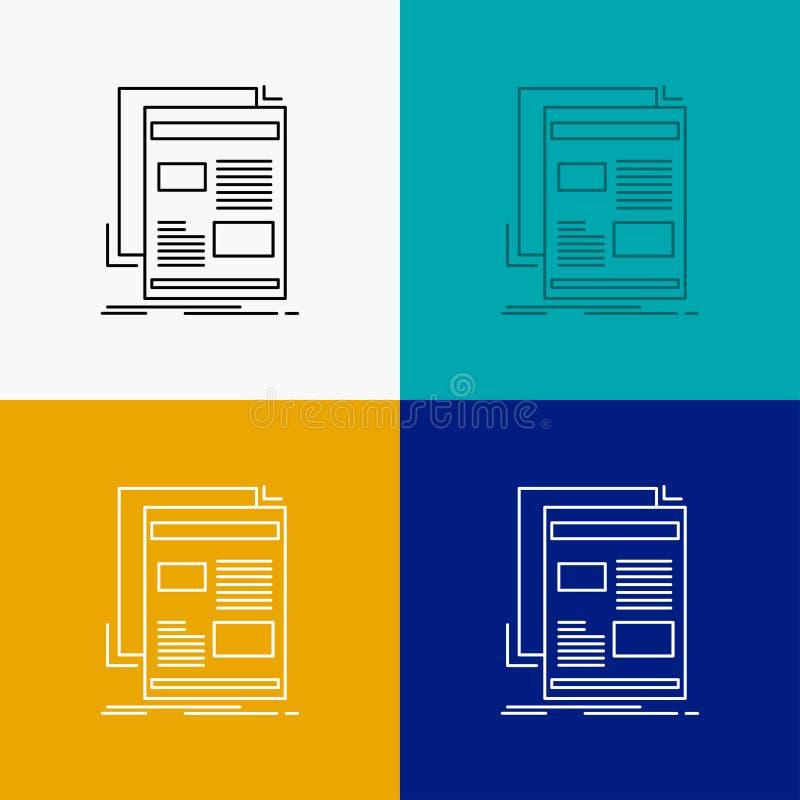 Nachrichten, Newsletter, Zeitung, Medien, Papier Ikone über verschiedenem Hintergrund r Vektor ENV 10 stock abbildung
