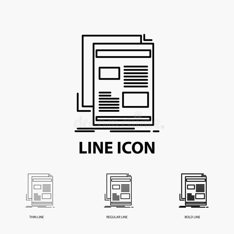 Nachrichten, Newsletter, Zeitung, Medien, Papier Ikone in der dünnen, regelmäßigen und mutigen Linie Art Auch im corel abgehobene lizenzfreie abbildung
