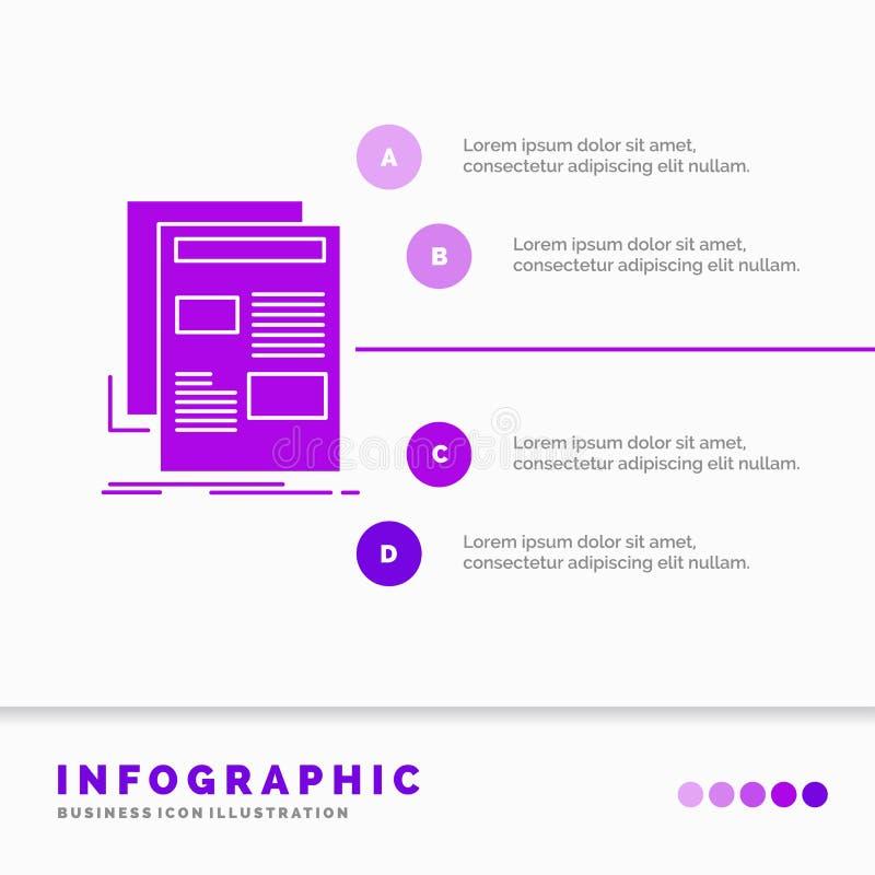 Nachrichten, Newsletter, Zeitung, Medien, Papier-Infographics-Schablone f?r Website und Darstellung Infographic Art der purpurrot lizenzfreie abbildung