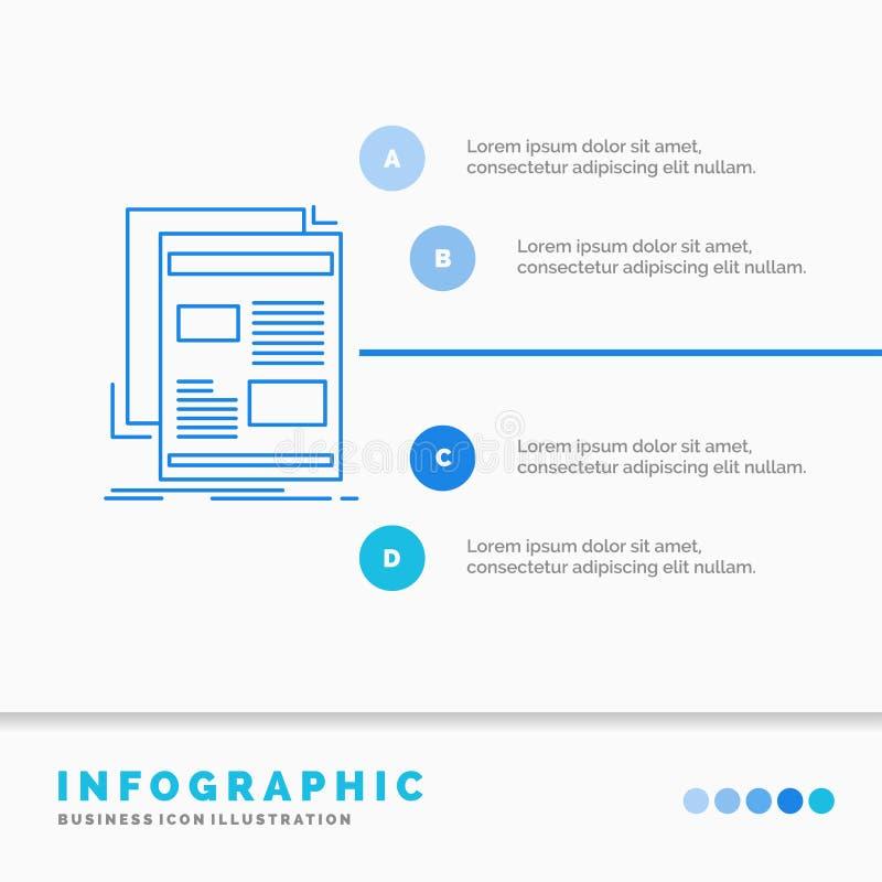 Nachrichten, Newsletter, Zeitung, Medien, Papier-Infographics-Schablone f?r Website und Darstellung Linie infographic Art der bla stock abbildung
