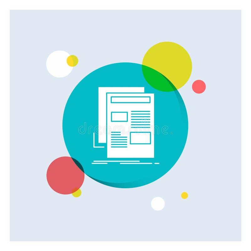 Nachrichten, Newsletter, Zeitung, Medien, Papier weiße Glyph-Ikonen-bunter Kreis-Hintergrund stock abbildung