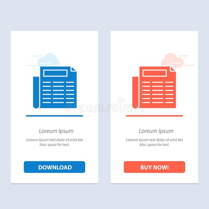 Nachrichten, Papier, Dokumenten-Blau und rotes Download und Netz Widget-Karten-Schablone jetzt kaufen vektor abbildung