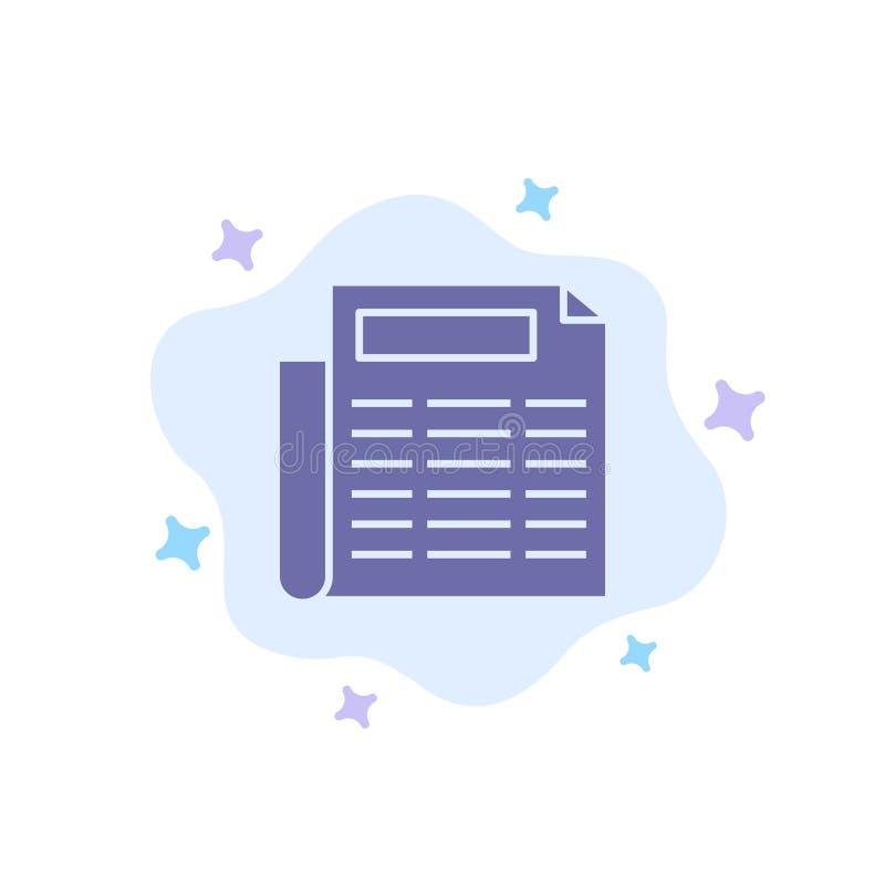 Nachrichten, Papier, Dokumenten-blaue Ikone auf abstraktem Wolken-Hintergrund lizenzfreie abbildung