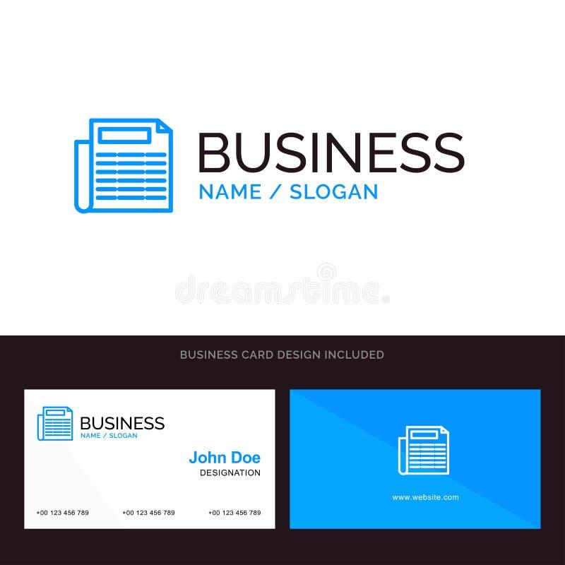Nachrichten, Papier, Dokumenten-blaues Geschäftslogo und Visitenkarte-Schablone Front- und R?ckseitendesign lizenzfreie abbildung