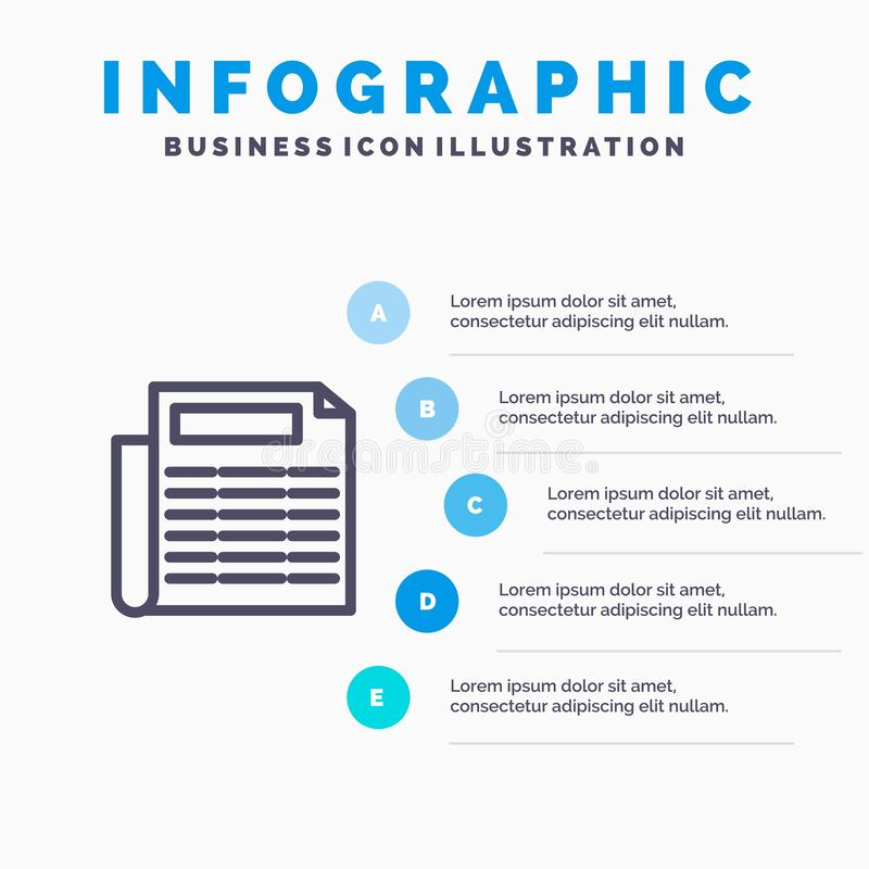 Nachrichten, Papier, Dokumenten-Linie Ikone mit Hintergrund infographics Darstellung mit 5 Schritten lizenzfreie abbildung