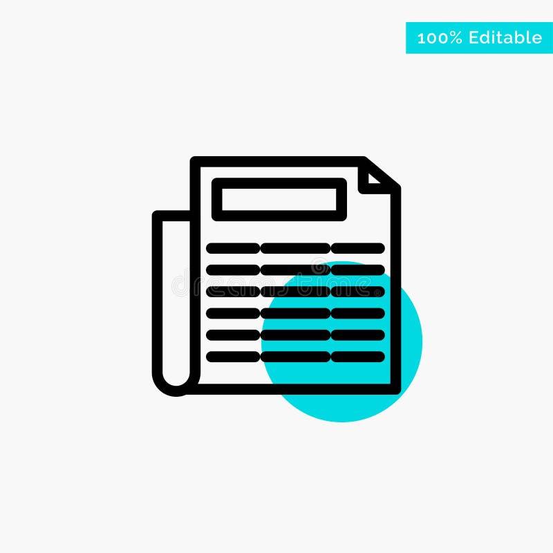Nachrichten, Papier, Dokumententürkishöhepunktkreispunkt Vektorikone lizenzfreie abbildung