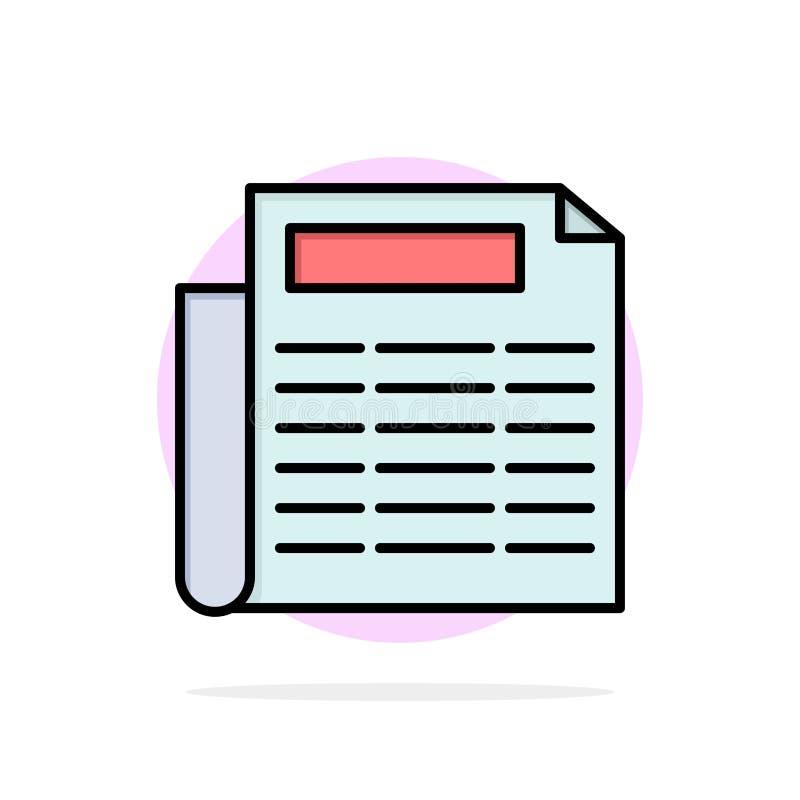 Nachrichten, Papier, flache Ikone Farbe des Dokumenten-Zusammenfassungs-Kreis-Hintergrundes lizenzfreie abbildung