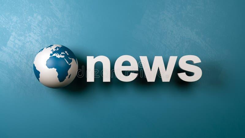 Nachrichten-Text und Erdkugel gegen Wand lizenzfreie abbildung