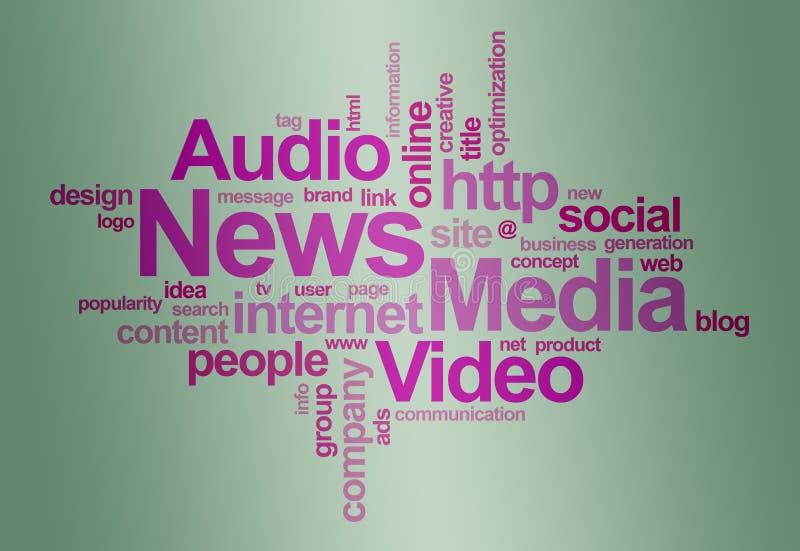 Nachrichten- Und Media â Wortwolke Stockbilder
