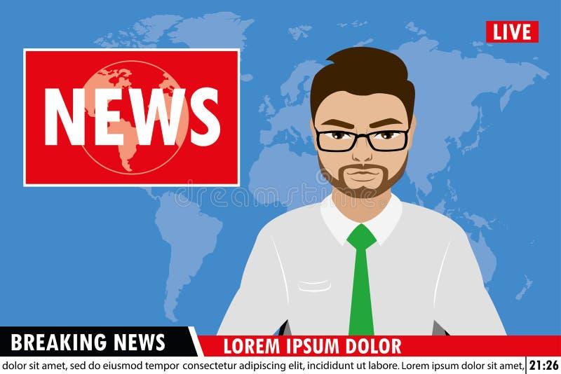 Nachrichten verankern im Fernsehen Hintergrund der letzten Nachrichten stock abbildung