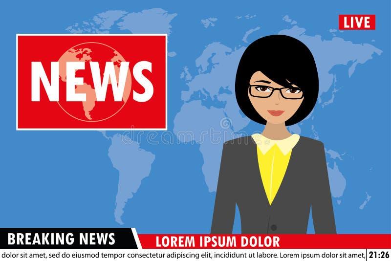 Nachrichten verankern im Fernsehen Hintergrund der letzten Nachrichten vektor abbildung