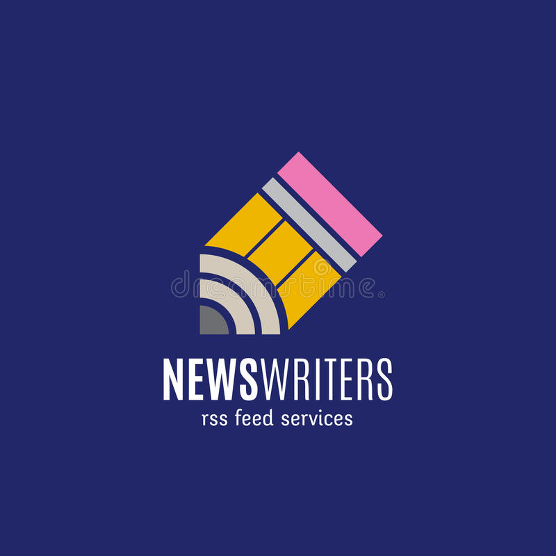 Nachrichten-Verfasser-RSS-Feed hält abstraktes Vektor-Zeichen, Emblem oder Logo Template instand Kreatives Konzept auf blauem Hin stock abbildung