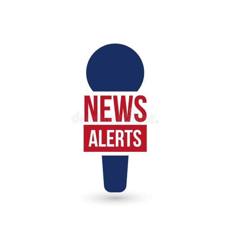 Nachrichtenalarme, Logo der letzten Nachrichten, Fernsehgestaltungselement, Bericht online, Mikrofonikone, Vektorillustration lizenzfreie abbildung
