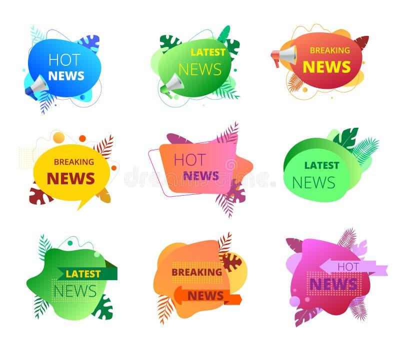 Nachrichtenausweis eingestellt mit Megaphon Förderungsfahnen, Aufkleber mit Textbirne, brechend, heißes, spätestes neues stock abbildung
