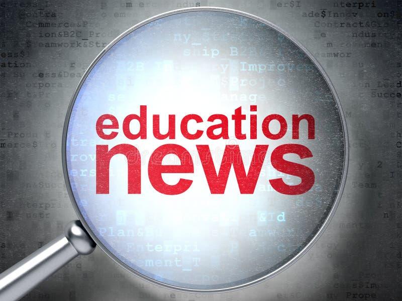 Nachrichtenkonzept: Bildungs-Nachrichten mit optischem Glas lizenzfreie abbildung
