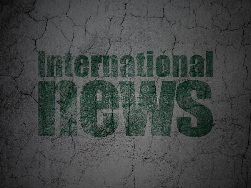 Nachrichtenkonzept: Internationale Nachrichten auf Schmutzwandhintergrund lizenzfreie abbildung