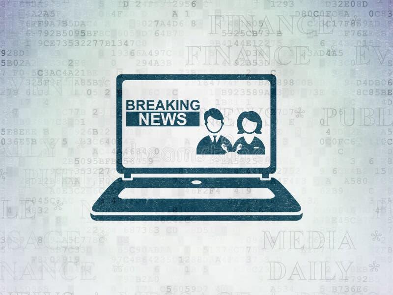Nachrichtenkonzept: Letzte Nachrichten auf Laptop auf Digital-Daten tapezieren Hintergrund stock abbildung