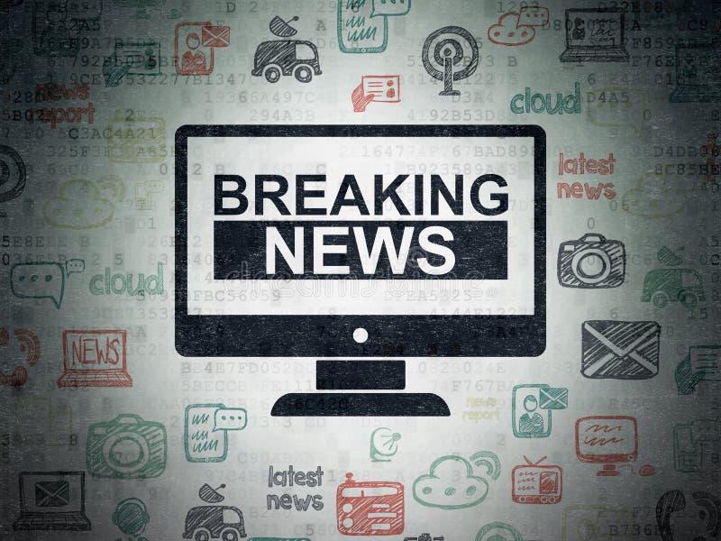 Nachrichtenkonzept: Letzte Nachrichten auf Schirm auf Digital-Daten tapezieren Hintergrund lizenzfreie abbildung