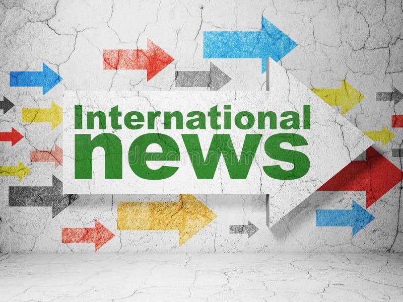 Nachrichtenkonzept: Pfeil mit internationalen Nachrichten auf Schmutz ummauern Hintergrund vektor abbildung