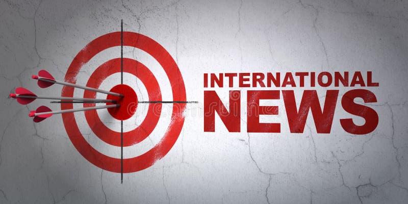 Nachrichtenkonzept: Ziel und internationale Nachrichten auf Wandhintergrund lizenzfreie abbildung