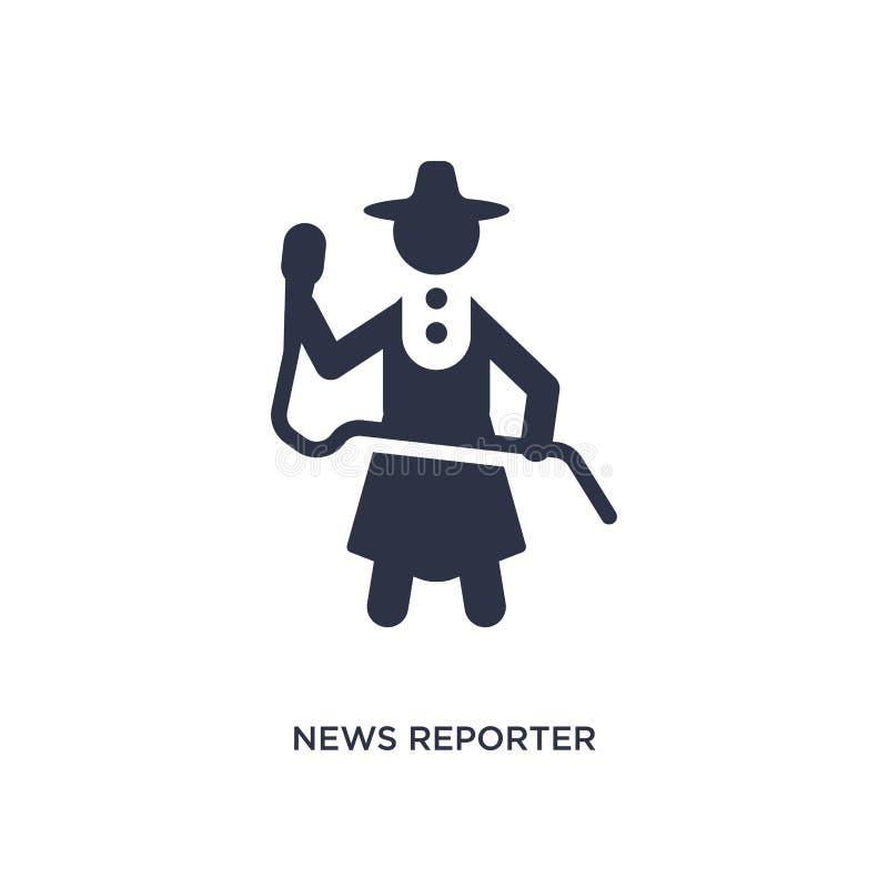 Nachrichtenreporterikone auf weißem Hintergrund Einfache Elementillustration vom Kommunikationskonzept stock abbildung