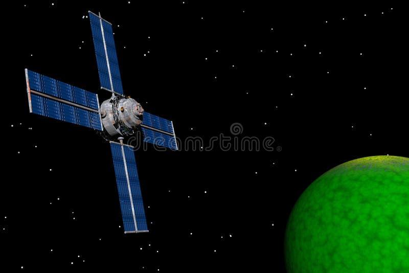 Nachrichtensatellit lizenzfreie abbildung