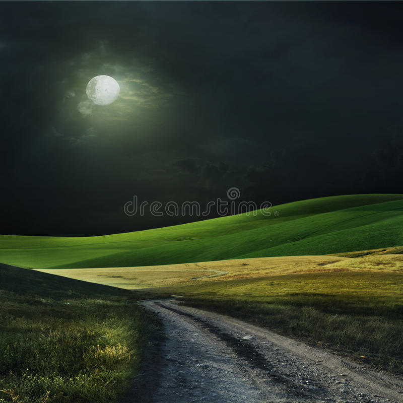 Nacht über einem Feld stockfoto