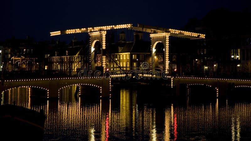 Nacht 10 van Amsterdam stock foto